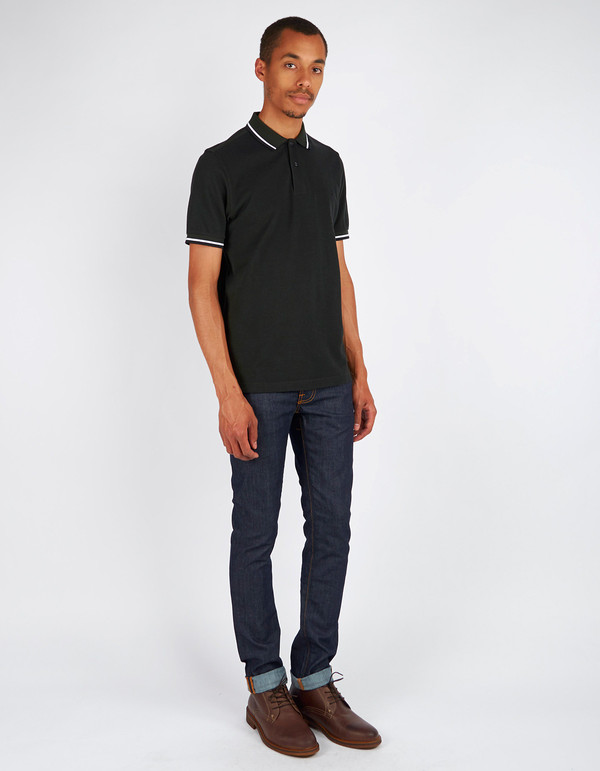 Men's Fred Perry Slim Fit Twin Tipped Polo Hunting Green Black White