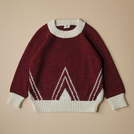 Kids Granelito Alpaca Sweater with Embroidery - Red