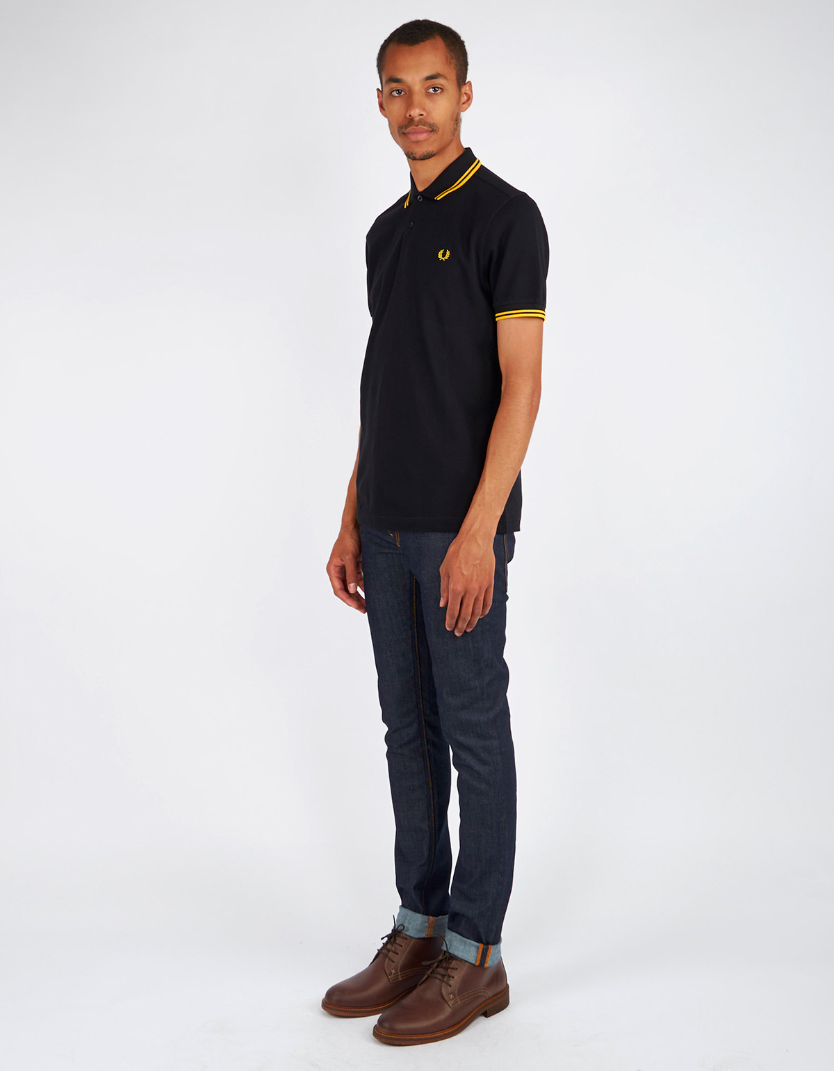 f3ad94061 Men's Fred Perry Slim Fit Twin Tipped Polo Black New Yellow | Garmentory