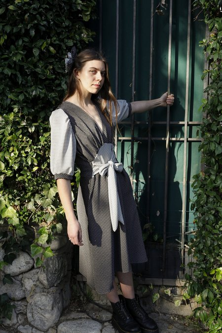 Jess Meany Crepe Pull-Over Saguaro Dress - Checks