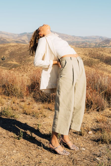Jess Meany Pleated Dani Pant - Stonewash Khaki