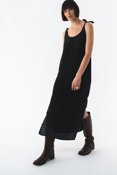 AMOMENTO TIED SLIP DRESS - BLACK