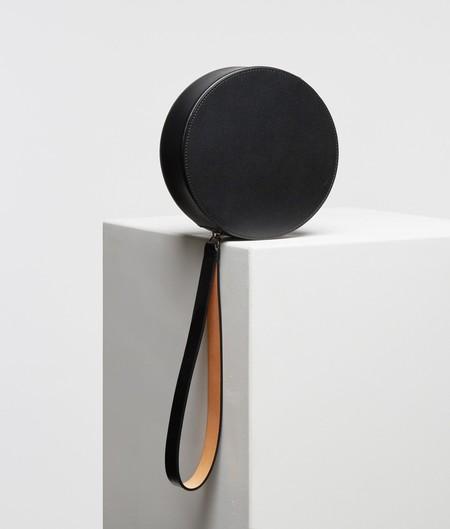 Building Block Puck Round Wristlet - Black Leather