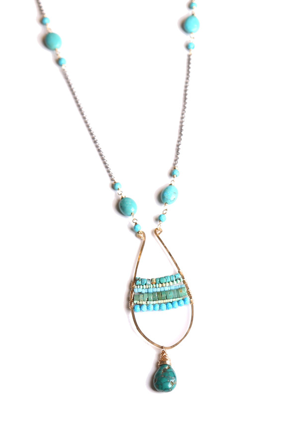 James and Jezebelle Turquoise Teardrop Paddle Necklace