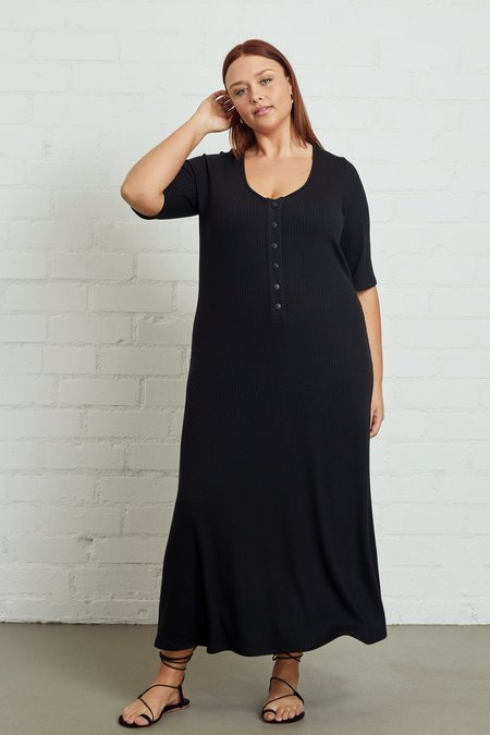 White Label Rib Caro Dress - Black,