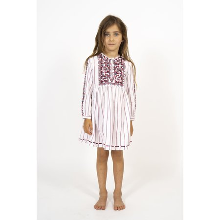 simple kids barcelona dress - white/red/blue