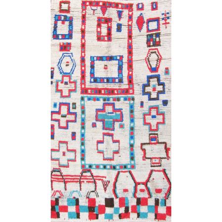 Vintage Moroccan Azilal Grid Rug - Cerulean/Red
