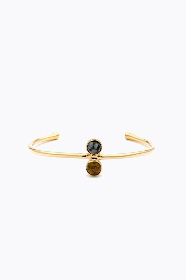 Odette New York Double astra cuff in brass, snowflake obsidian & unakite