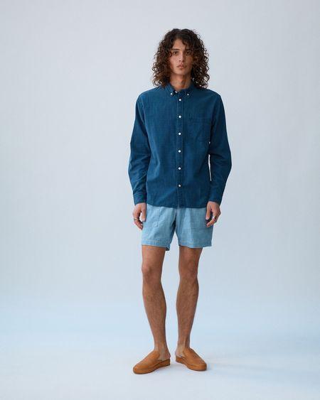 Corridor Rainbow Dobby LS Shirt - Indigo