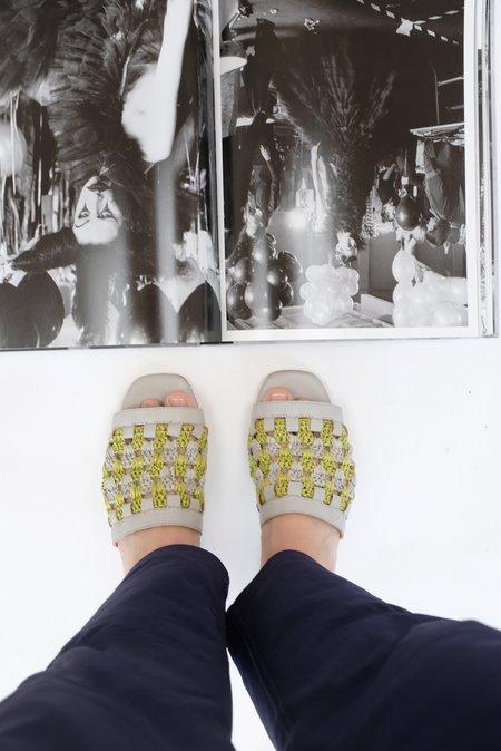 Beklina Crochet Flat Sandal - Grey/Lime