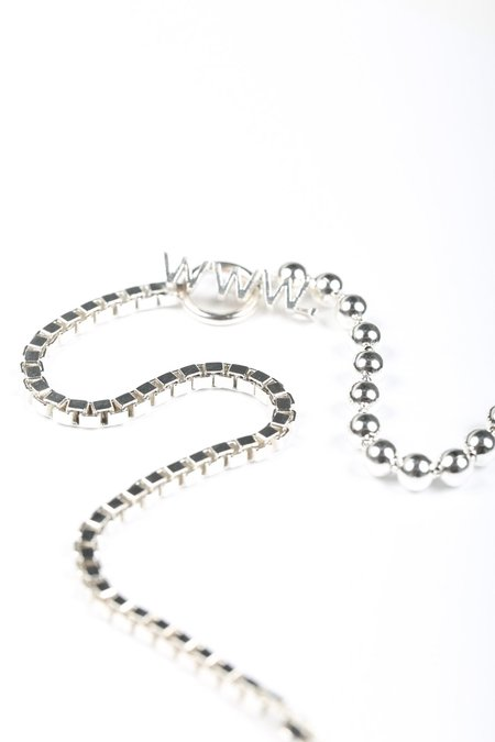 WWW. WILL SHOTT 2-LINK BALL/BOX NECKLACE - Sterling Silver