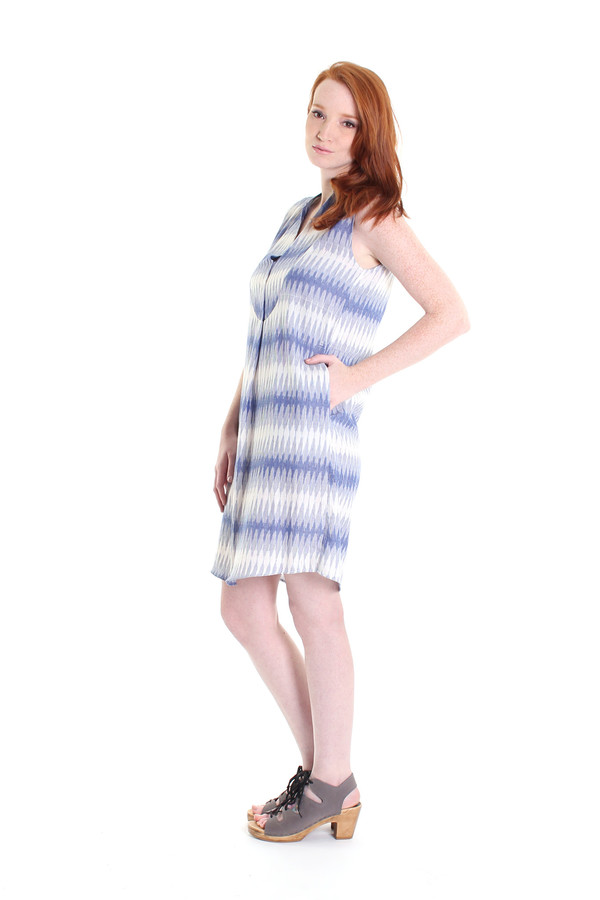 SBJ Austin Liz dress in blue ikat