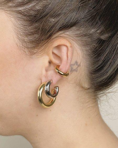 MERAKI BOUTIQUE Machete .75 Silver Hoop Earrings