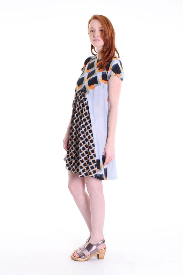 Suno Pleated underlay mini dress in blue