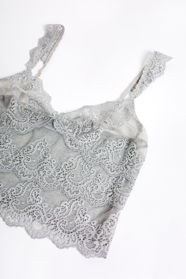 Only Hearts So fine lace cropped cami in heather grey