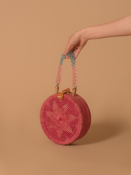 Folk Fortune Rattan Bag with Blue Beaded Handle - Pink