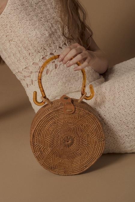Folk Fortune Acrylic Rattan Bag - Natural