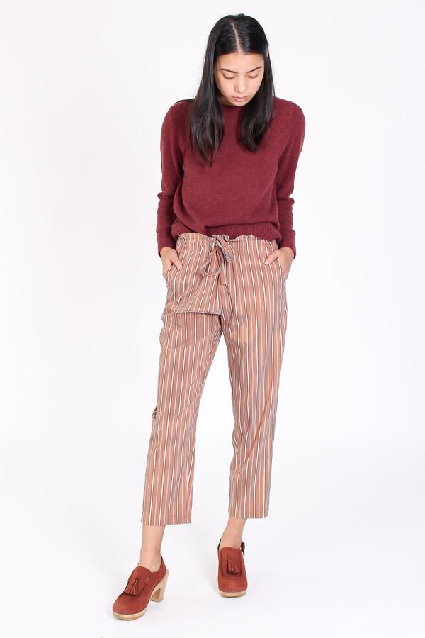 Raquel Allegra Tie front pant in copper stripe