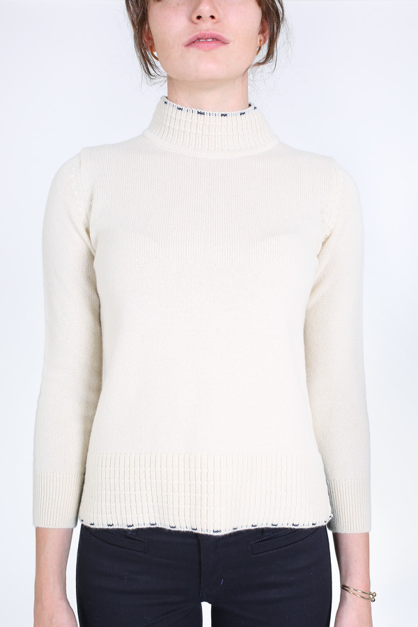 M.i.h Jeans Tipped guernsey cashmere sweater in cream