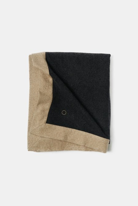 Oyuna Etra Heavyweight Timeless Luxury Cashmere King Size Bedspread - Charcoal / Melange Taupe