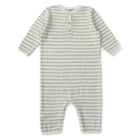 kids treehouse cashmere onesie - ivory/grey stripes