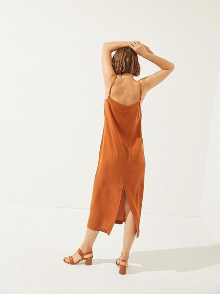 Cus Tencel Slip Dress - Rust