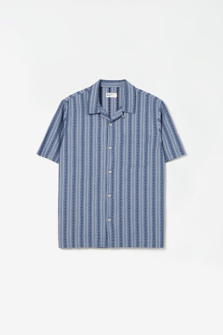 Universal Works Road shirt - western stripe navy