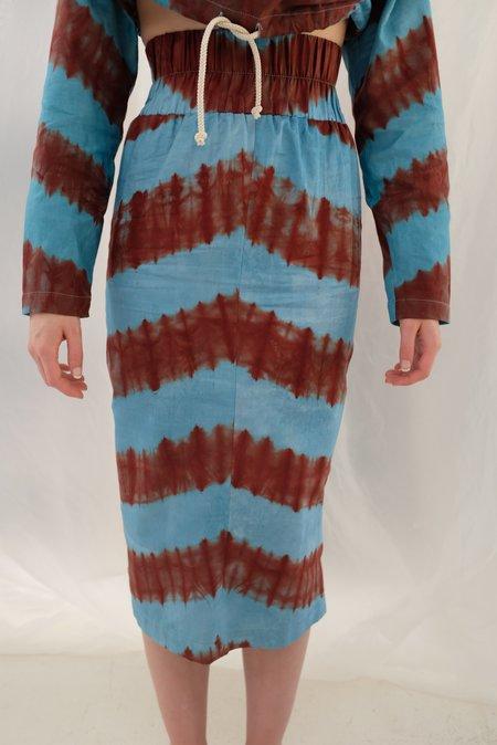100% Silk Stripe Skirt - Aqua/Burgundy
