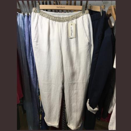 Hartford PIROUETTE ELASTIC WAIST LINEN PANTS - White