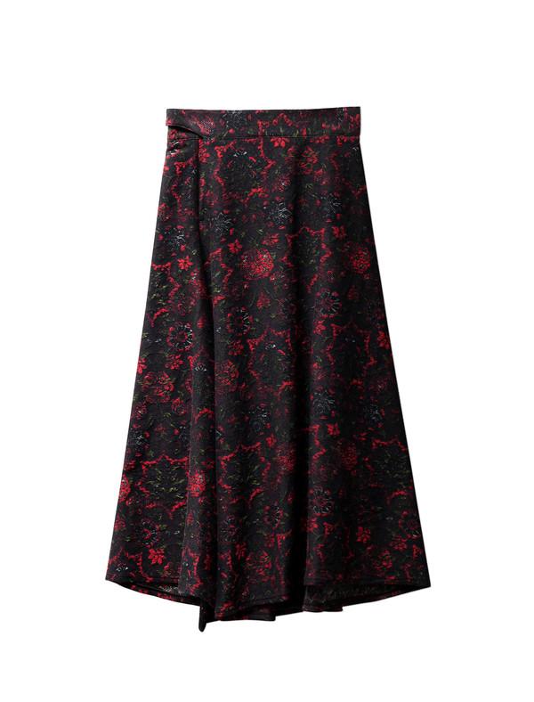 Ys by Yohji Yamamoto Womens Jacquard Flared Floral Skirt