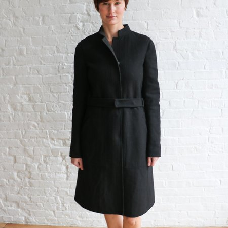 [pre-loved]Narciso Rodriguez Belted Mid Length Coat - black