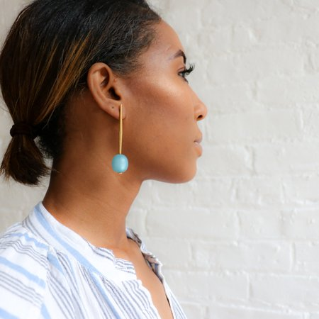 [pre-loved] Pono Bead Drop Pin Earring - blue