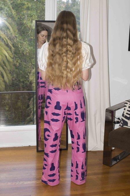 100% SILK Box Pleat Trouser - Pink Relics