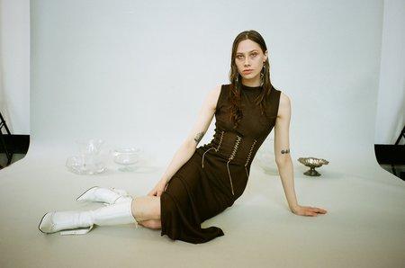 Kepler Brown Stitch Dress - Brown