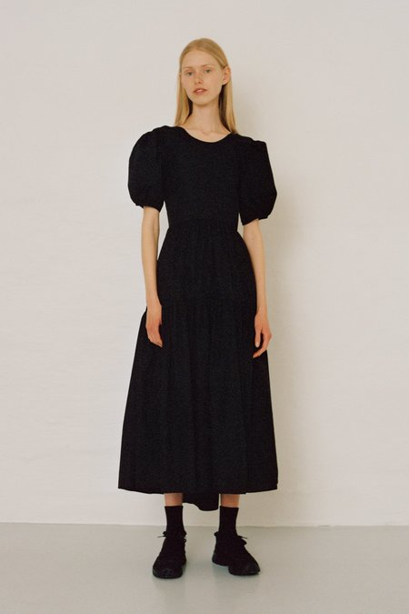 CECILIE BAHNSEN Karoline Puff Sleeve Gown with Open Back - black