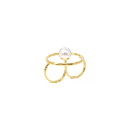 Joomi Lim Double Finger Hoop Ring W/ Pearl Center - Gold/White