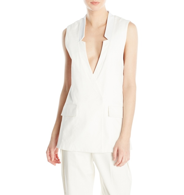 Vincetta White Notch Collar Vest