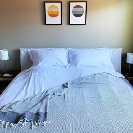 Turkish Towel Blanket - Black/White