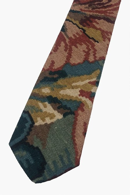 POCKET SQUARE CLOTHING Calderone Woven Tie - Green/Floral