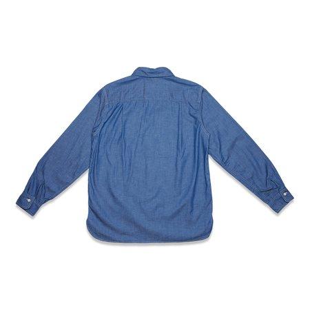 TSS 6OZ SLUB DENIM ASYMMETRIC POCKET WORK SHIRT - BLUE