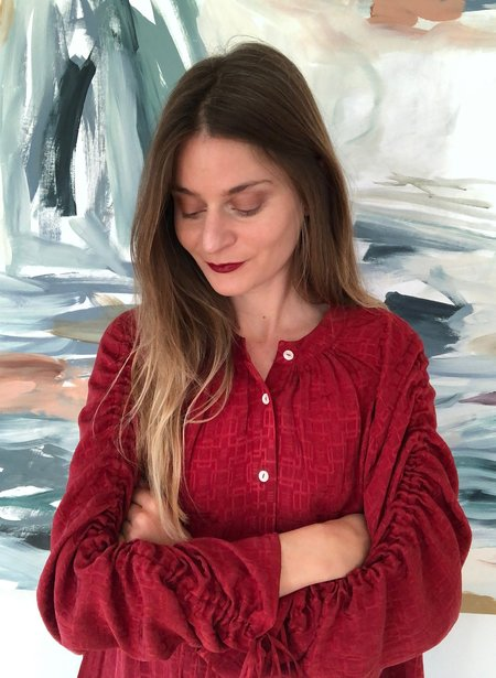 Seek Collective Etta Tile Silk Jacquard Shirt - Vin