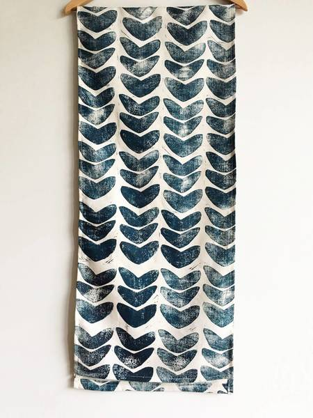 Julie Peach Hand Block Printed Linen Table Runner - Indigo Cashew
