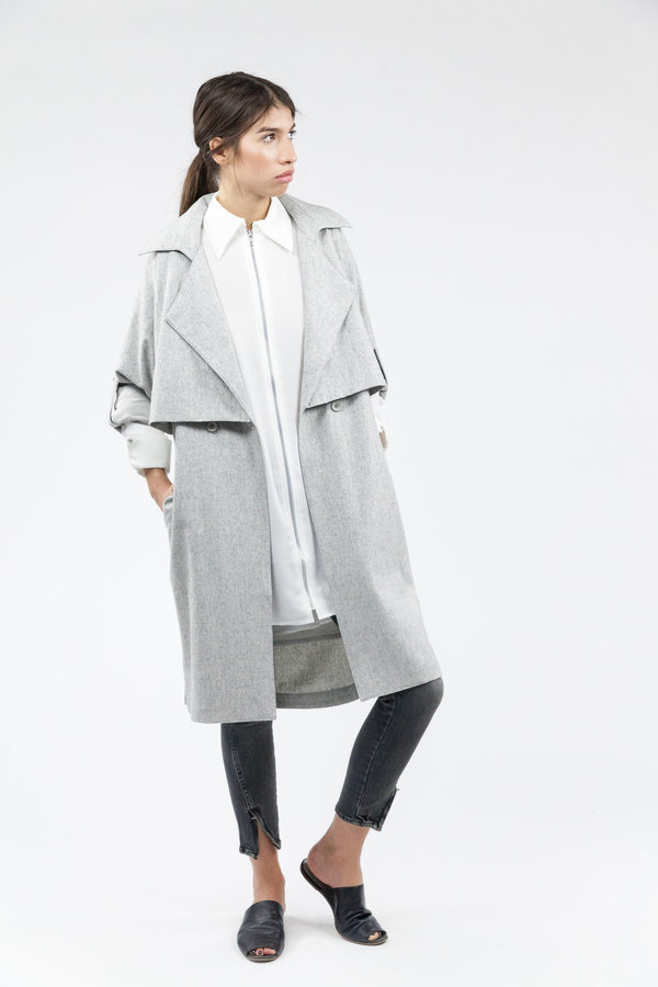 7115 by Szeki Wool Trench Coat - Light Gray