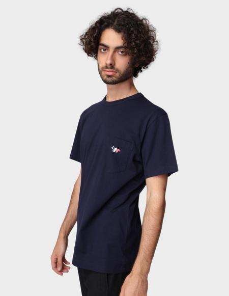 Maison Kitsuné T-Shirt Tricolor Fox Patch - Navy