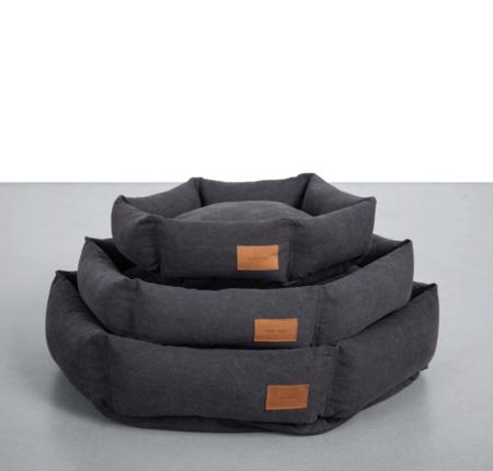 Velvet Hippo Hex Cushion Pet Bed - Dark Grey