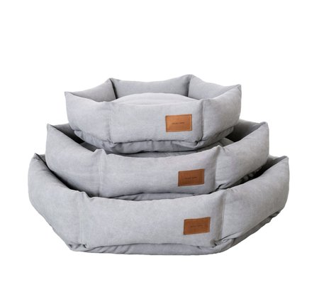 Velvet Hippo Hex Cushion Pet Bed - Light Grey