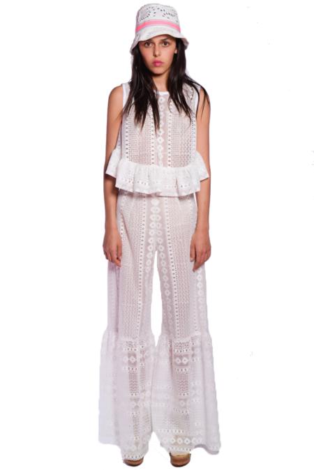 Anna Sui Picnic Lace Pant - white