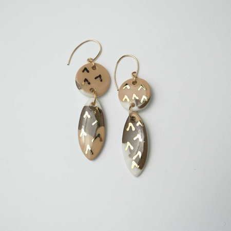Melted Porcelain Surf Double Earrings - Earth