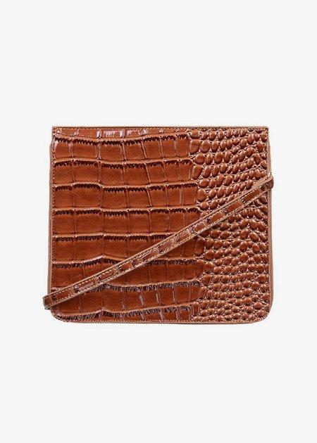 BRIE LEON Audrey Bag - Dark Brown Oily Croc