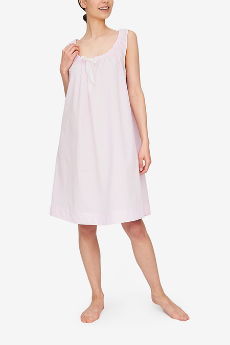 The Sleep Shirt Sleeveless Nightie - Pink Seersucker